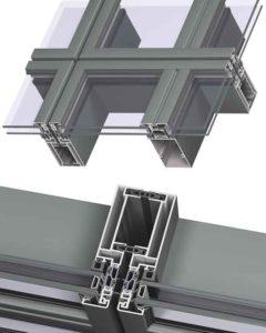 Исполнение с видимым креплением стеклопакетов по горизонтали и-или вертикали